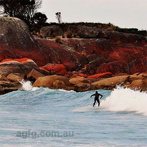 Surfing on East Coast Tasmania