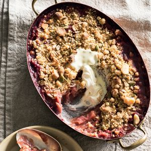 Crumble with Poached Rhubarb