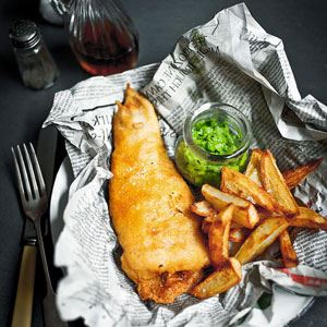 Fish, Chips and Minted Mushy Peas