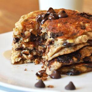 Gooey Choc Chip Pancakes