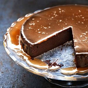 Chocolate Mousse Cake with Salted Caramel Sauce
