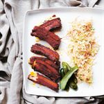Korean Barbecued Pork Ribs with Spicy Slaw and Chilli Gherkins