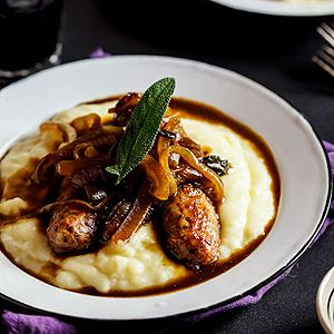 Sage Roasted Pork Sausages on Mash