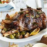 Slow-cooked Greek Easter lamb with lemons, olives and bay leaves