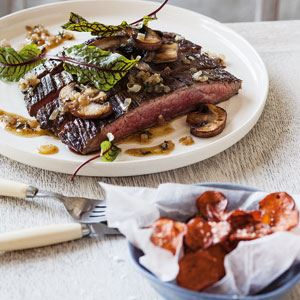 Flank Steak with Mushrooms and Sweet Potato Chips - Chef Recipe by Kate Gibbs