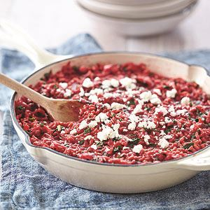 Beetroot and Kale Risotto with Feta Cheese