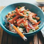 Summer prawn salad with caramelised macadamias