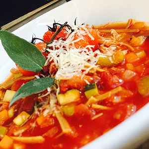 Minestrone Soup with Chorizo and Truffle - Chef Recipe by Shawn Sheather