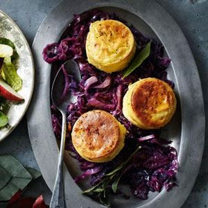 Double Baked Cheese Souffles with Marmalade Braised Red Cabbage