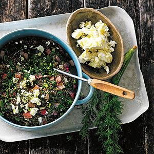 Lentils with Chard, Dill and Feta - Chef Recipe by Olivia Andrews