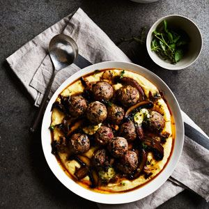 Veal and pork meatballs with polenta and mushroom - Chef Recipe by Matteo Bruno