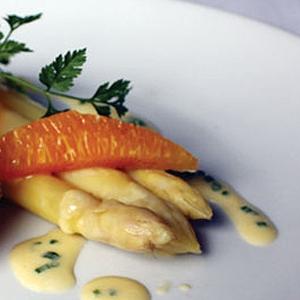 White Asparagus & Citrus Salad with a Crispy Poached Egg & Orange Beurre Blanc