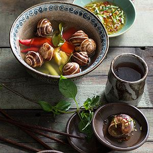 Snails Cooked in Lemongrass, Ginger, Lime Leaves and Basil - Chef Recipe by Luke Nguyen