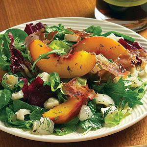 Peach, Feta and Prosciutto Salad with Lime and Lychee Dressing - Chef Recipe by Peter Howard