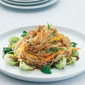 Rice Noodles and Bok Choy Salad with Ginger Chilli Soy Dressing - Chef Recipe by Peter Howard