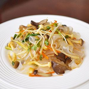 Chinese Cold Bean Noodle Salad with Mushroom Medley