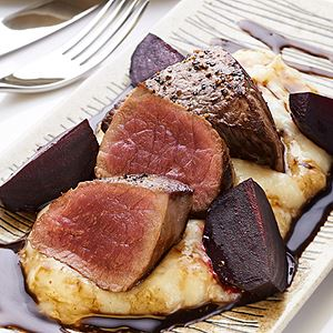Roasted Venison Medallions with Beetroot, Horseradish Mash and Velo Caramel Sauce - Chef Recipe by John T. Bailey