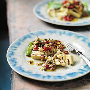 Grilled Halloumi with Pomegranate and Sumac Dressing - Chef Recipe by Shane Delia