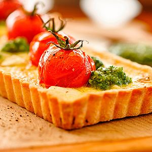 Tomato, Onion and Goats' Cheese Tart with Macadamia Pesto and Crust
