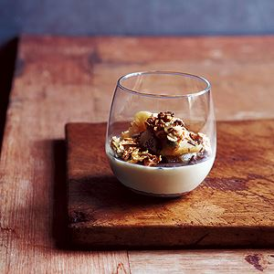 Truffle Creams with Maple Syrup, Poached Apple and Oat Crunch - Chef Recipe by Rodney Dunn