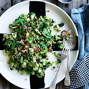Charred Broccoli, Almonds, Lemon and Chilli - Chef Recipe by Mark LaBrooy and Darren Robertson