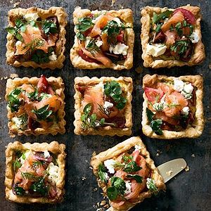 Smoked Salmon, Persian Feta, Dill & Cherry Tomato Tarts - by Linda and Paul Jones