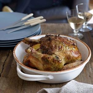 Roast Chicken Stuffed with Parsley, Hazelnuts & Butter