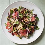 Watermelon with Haloumi, Pine Nuts, Sumac and Mint - by Linda and Paul Jones
