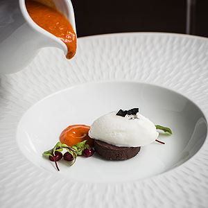 Katers' Red Bell Pepper Soup with Goat's Cheese Sorbet and Chilli Chocolate Panna Cotta