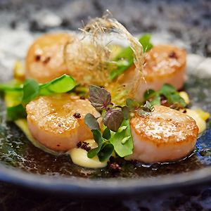 Scallops with Corn, Burnt Butter, Lemon Aspen and Beach Sorrel - Chef Recipe by Steven Snow