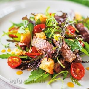 Barbecued Steak Salad with Cherry Tomato Vinaigrette, Crunchy Bread and Greens - Chef Recipe by Belinda Jeffery