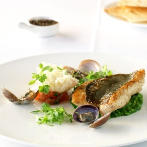 John Dory, Crab & Parsley Risotto with Scampi Beignets