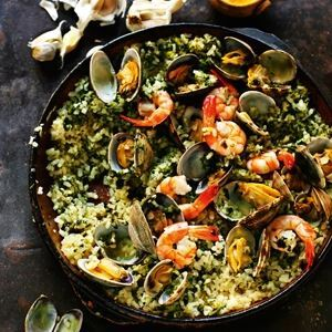 Green Rice with Garlic, Parsley, Clams & Prawns - Chef Recipe by Rick Stein