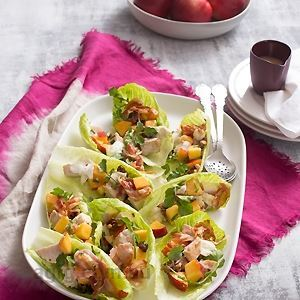 Turkey, Nectarine and Walnut Salad in Lettuce Cups