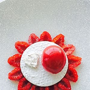 Upside Down Vanilla Custard Tart with Raspberries, Clotted Cream and Raspberry Sorbet - Chef Recipe by Grant Parry