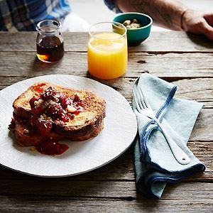 French Toast with Balsamic Strawberries and Macadamia Crumble - by Stuart McKenzie