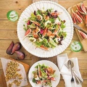 Fig and Prosciutto Salad with Labneh and Fennel Seed Toffee by Anna Gare