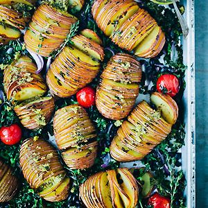 Hasselback Potatoes with Kale, Beans and Pesto