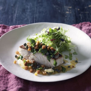 Pan-Roasted Kingfish With Lemon, Caper and Crouton Butter Sauce