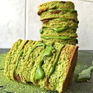 Matcha Cake Stack with Matcha Cream