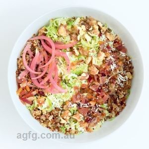 Brussels Sprouts and Bacon Grain Bowl by Anna Shillinglaw Hampton