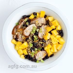 Cuban Pork and Mango Grain Bowl by Anna Shillinglaw Hampton
