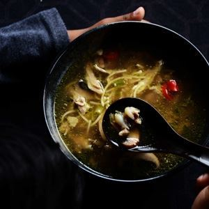 Chicken Noodle Soup with Brown Mushrooms