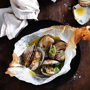 Roasted Clams with Parsley, Garlic and Spring Onions - Chef Recipe by Sarah Swan