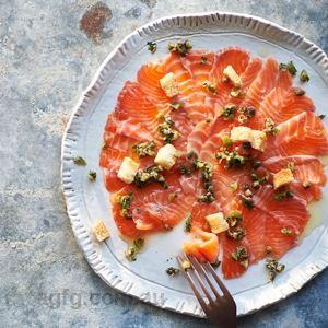 Salmon Carpaccio with Anchovy Salad - Chef Recipe by Lucio Galletto