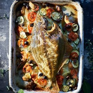 Whole Baked Fish with Tomatoes, Potatoes and Olives  - Chef Recipe by Lucio Galletto