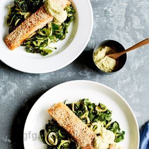 Baked Salmon with Zucchini, Kale and Avocado Cashew Cream - by Sam Wood
