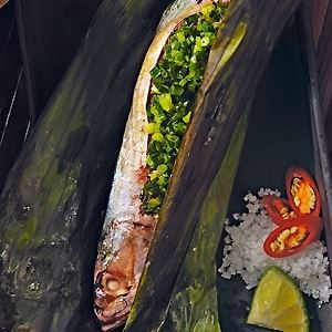 Mackerel grilled in Banana Leaf - by Tracey Lister & Andreas Pohl