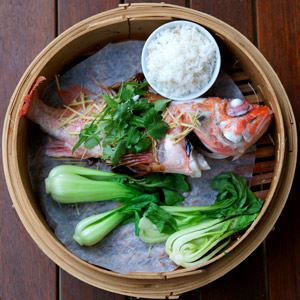 Steamed Whole Ocean Perch with Ginger and Soy