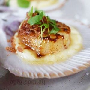 Seared Hervey Bay Scallops, Cauliflower Puree and Pancetta - Chef Recipe by Phong Nguyen